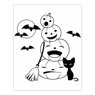 Halloween Black Cat and Pumpkins Coloring Page Rubber Stamp