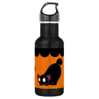 Halloween Black Cat and Spider 532 Ml Water Bottle