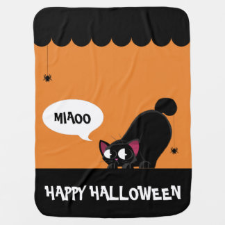 Halloween Black Cat and Spider Baby Blanket
