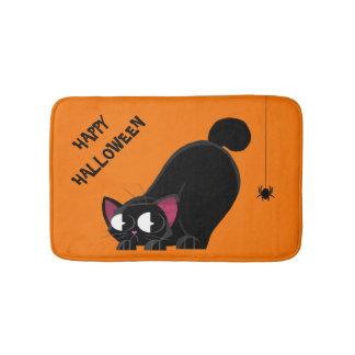 Halloween Black Cat and Spider Bath Mat