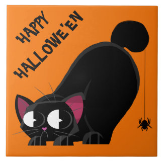 Halloween Black Cat and Spider Ceramic Tile