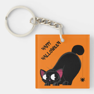 Halloween Black Cat and Spider Key Ring