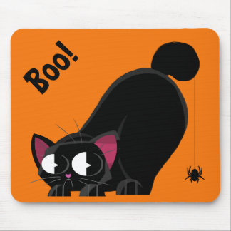 Halloween Black Cat and Spider Mouse Pad