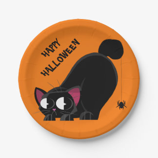 Halloween Black Cat and Spider Paper Plate