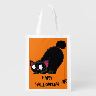 Halloween Black Cat and Spider Reusable Grocery Bag