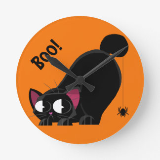 Halloween Black Cat and Spider Round Clock