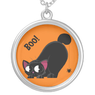 Halloween Black Cat and Spider Silver Plated Necklace