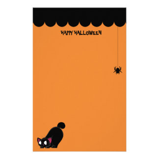 Halloween Black Cat and Spider Stationery