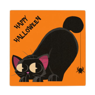 Halloween Black Cat and Spider Wood Coaster