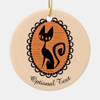 Halloween Black Cat Cameo Ceramic Ornament