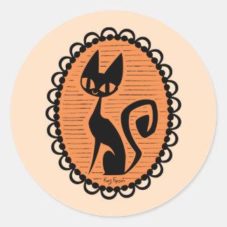 Halloween Black Cat Cameo Classic Round Sticker