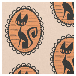 Halloween Black Cat Cameo Fabric