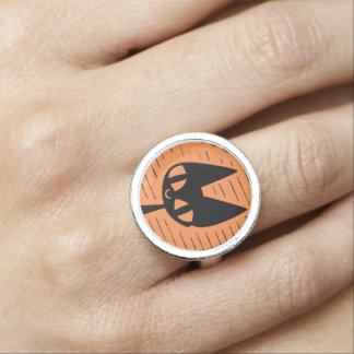 Halloween Black Cat Cameo Ring