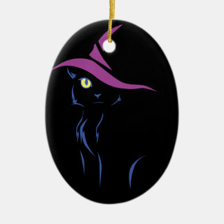 Halloween Black Cat Ceramic Ornament