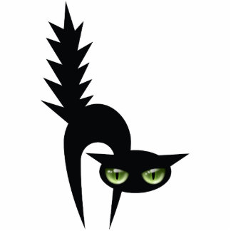 Halloween Black Cat Decoration Standing Photo Sculpture