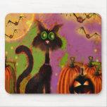 Halloween Black Cat Design Mouse Pad
