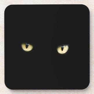 Halloween Black Cat Eyes Plastic Coaster