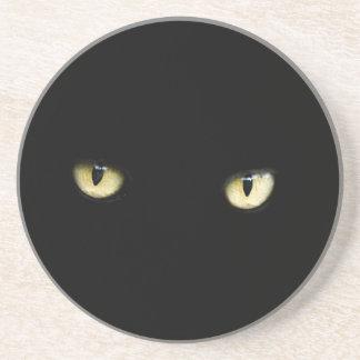 Halloween Black Cat Eyes Sandstone Coaster