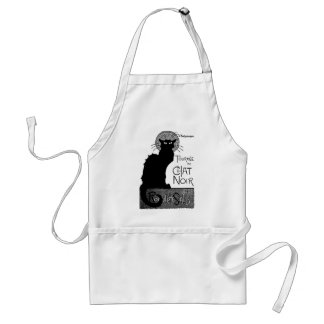 Halloween Black Cat French Words Chat Noir Text Apron