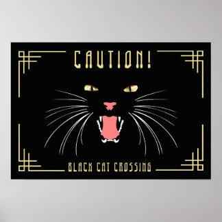 "Halloween Black Cat Fun Caution Poster, 19"" x 13"" Poster"