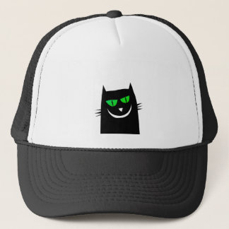 Halloween Black Cat Green Eyes Crazy Trucker Hat