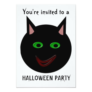 "Halloween Black Cat Halloween Party Customizable 5"" X 7"" Invitation Card"