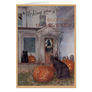 HALLOWEEN BLACK CAT & haunted house Greeting Card