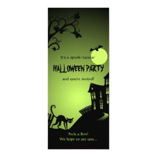 "Halloween Black Cat Haunted House 4"" X 9.25"" Invitation Card"