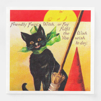 Halloween black cat Holiday vintage party napkins Disposable Napkin