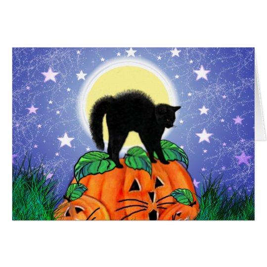 Halloween Black Cat in Moonlight with Pumpkins Card