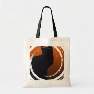 Halloween Black Cat in Spiral Design Budget Tote Bag