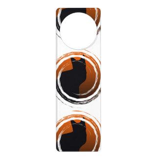 Halloween Black Cat in Spiral Design Door Hanger