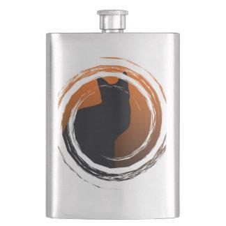Halloween Black Cat in Spiral Design Hip Flask
