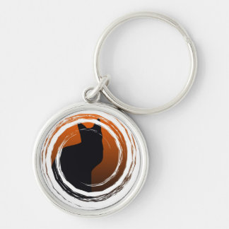 Halloween Black Cat in Spiral Design Silver-Colored Round Key Ring