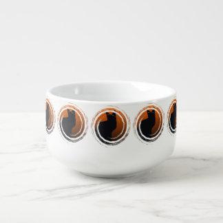 Halloween Black Cat in Spiral Design Soup Mug