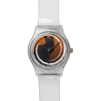 Halloween Black Cat in Spiral Design Watch