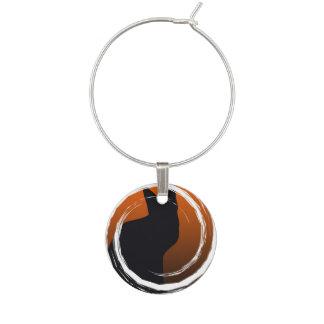 Halloween Black Cat in Spiral Design Wine Glass Charm