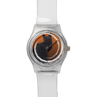 Halloween Black Cat in Spiral Design Wrist Watches