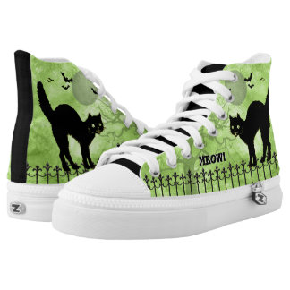 Halloween Black Cat Over-all Green Print Scene Printed Shoes