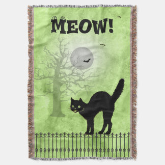 Halloween Black Cat Over-all Green Print Scene Throw Blanket