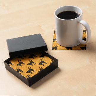 Halloween Black Cat Pattern Cork Coasters