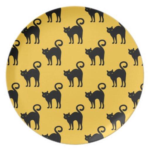Halloween Black Cat Pattern Plate