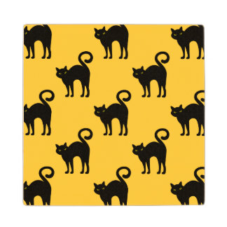 Halloween Black Cat Pattern Wooden Coaster Maple Wood Coaster