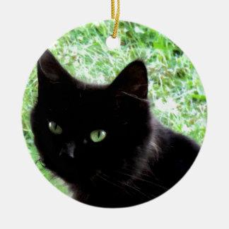 Halloween Black Cat Photo Design Ceramic Ornament