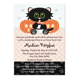Halloween Black Cat Pink Diaper Pin Baby Shower 13 Cm X 18 Cm Invitation Card