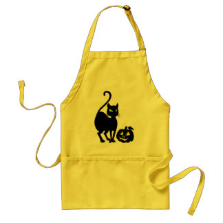 Halloween Black Cat & Pumpkin Teacher Mom Apron