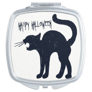 Halloween Black Cat Silhouette Compact Mirrors