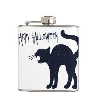 Halloween Black Cat Silhouette Hip Flask
