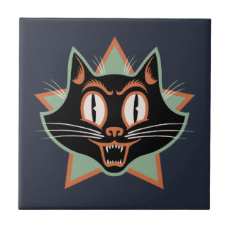 Halloween Black Cat Small Square Tile