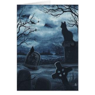 Halloween Black Cat Society Raven Blank Notecard Note Card